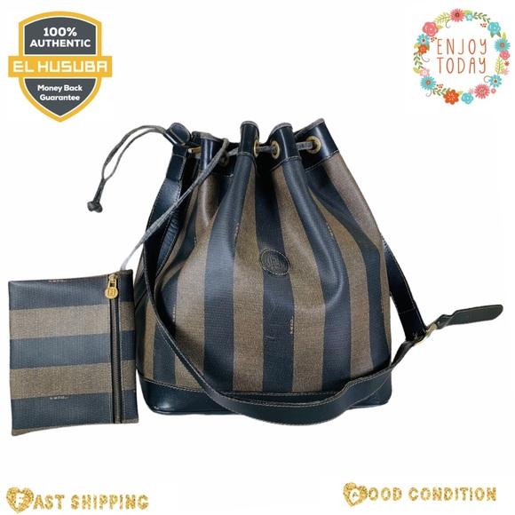 Fendi shoulder bag peguin brown black pvc